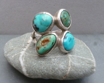 Turquoise sterling silver ring - size O