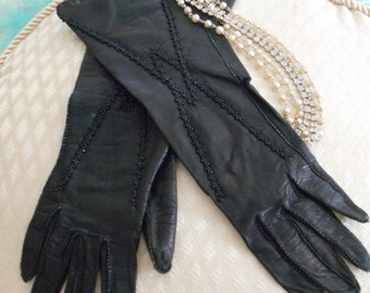 Black Leather Gloves with Jet Beads