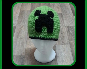 Crochet Minecraft Creeper Beanie inspired by children's game Minecraft.  Hand Made. Newborn-Adults