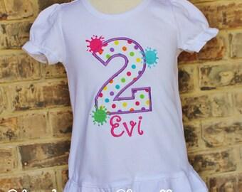 Personalized Girl's Paint Splatter Birthday Shirt. Paint Party Shirt