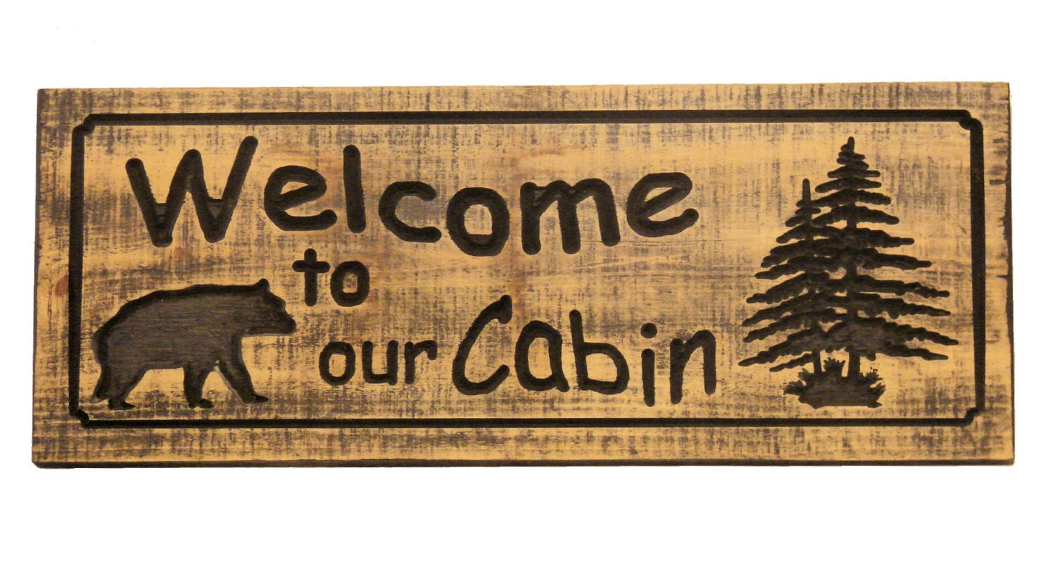 Welcome to our cabin wood sign bear welcome sign wood for Cabin signs wood