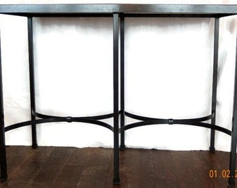 Handcrafted Wrought Iron Console Table with Dark Oak Tabletop