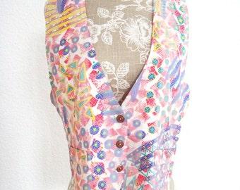 Vintage Geometric Vest - Bagatelle Vest - 1990s Rayon Vest