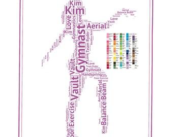 PERSONALIZED Gymnastics Gift Gymnast Gift Word Art Gymnast Gift Ideas Gymnastics Team Gifts 8 x 10 Print