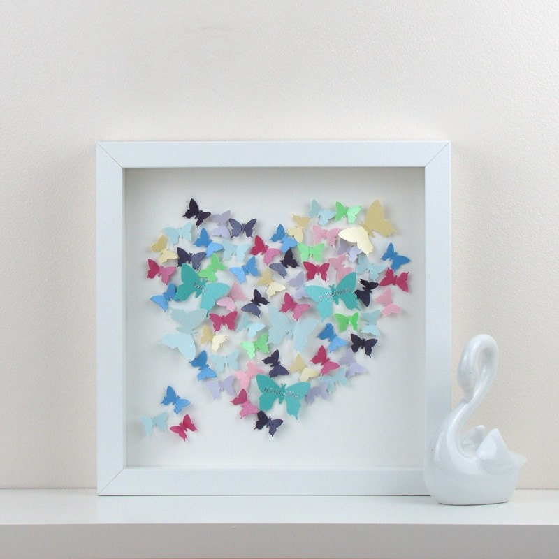 Personalised Wedding Gift Heart : Personalised Wedding Gift. 3D Butterfly Heart. Framed Art For
