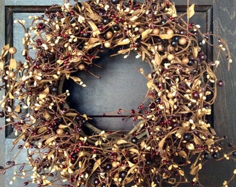 Bugundy Pip Berry Wreath, Mulberry Pip Berry Wreath, Primitive Fall Wreath, Americana Wreath, Rustic Wreath, Country Decor, FREE SHIPPING