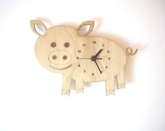 "Wooden wall clock - ""Baby Pig"""
