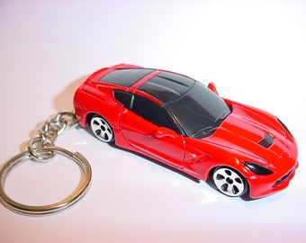 3D 2014 Chevrolet Corvette Sting Ray custom keychain by Brian Thornton keyring key chain finished in red color trim metal body stingray
