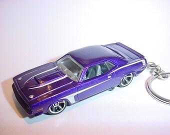 3D 1970 Plymouth AAR Cuda custom keychain by Brian Thornton keyring key chain finished in purple color trim diecast metal body