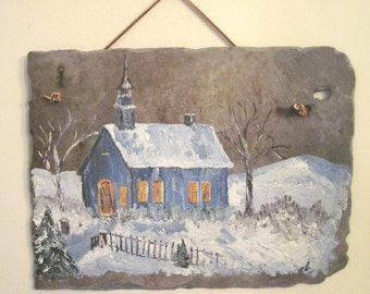 Church scene on Slate, painted in oils, vintage 70's, church scene in winter snow