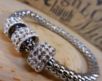 Silver Swarovski Crystal Bangle Bracelet