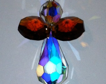 Swarovski Crystal Christmas Angel handmade ornament, copper color wings.