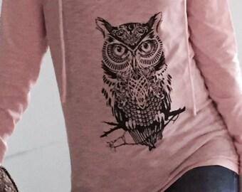 Owl Long Sleeve Hooded Tee (Slub Hoodie)