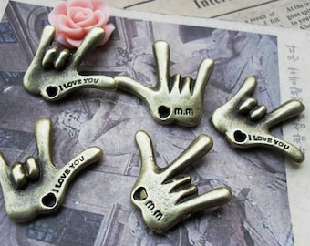 8pcs antique broze fingers findings charms,jewelry making supplies,