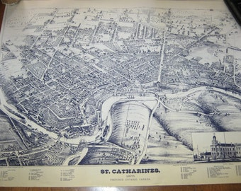 1875 Map of St. Catherines, Ontario drawn by H. Brosius, Lithograph Reproduction