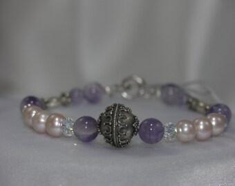 Amethyst, Freshwater pearl, Swarovski crystal, Bali Silver bracelet