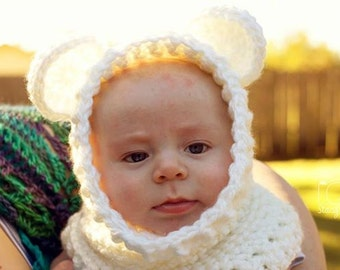 Baby Bear Cowl, 1-3 month, White