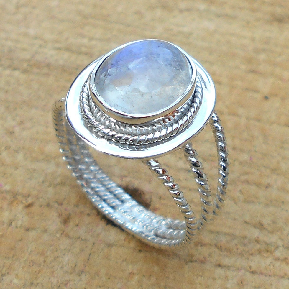 rainbow moonstone ring sterling silver ring by vedkadesigns