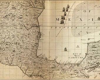 24x36 Poster; Map Of Gulf Of Mexico, Bay Of Campeche 1733