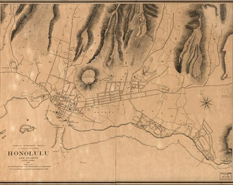24x36 Poster; Map Of Honolulu Hawaii And Vicinity 1887