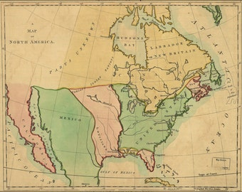 24x36 Poster; Map Of North America 1803 Pre United States