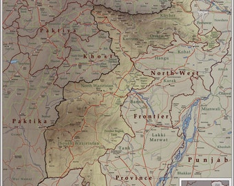 24x36 Poster; Map Of Tribal Areas Fata Pakistan 2009