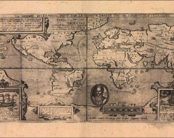 24x36 Poster; Map Of Voyage Of Sir Francis Drake 1581