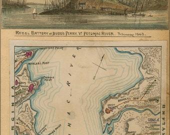 24x36 Poster; Map Of Blockade Of Potomac River 1862