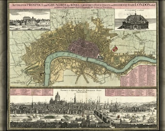 24x36 Poster; Map Of London In German 1740