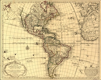 24x36 Poster; Map Of North & South America; United States  1780