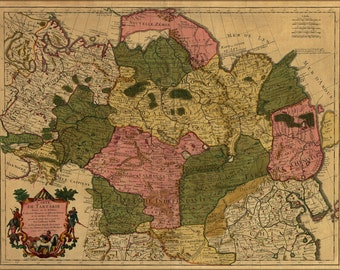 24x36 Poster; Map Of Siberia Russia 1706