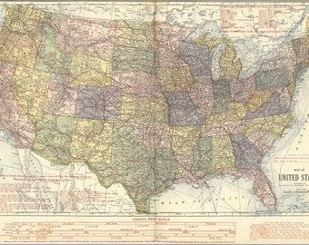 24x36 Poster; Map Of United States Of America 1920