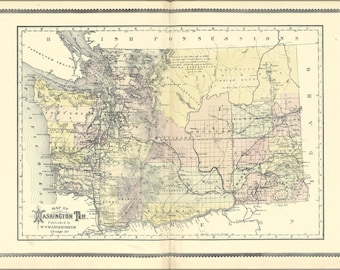 24x36 Poster; Map Of Washington State Territory 1889