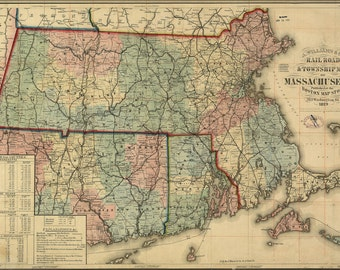 24x36 Poster; Railroad & Township Map Of Massachusetts, Published At The Boston Map Store, 1879