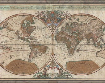 24x36 Poster; 1691 Sanson Map Of The World On Hemisphere Projection