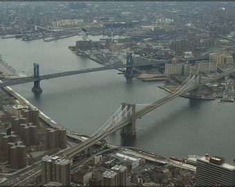 24x36 Poster; Brooklyn Bridge And Manhattan Bridge  1982
