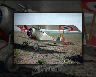 24x36 Poster; Nieuport 17 Color Autochrome Lumiere Of A Nieuport Fighter In Aisne, France 1917