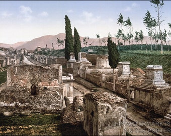 24x36 Poster; Pompeii - Street Of The Tombs Ca. 1900