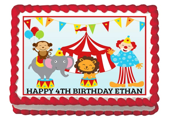 circus theme birthday personalized edible cake image sid the