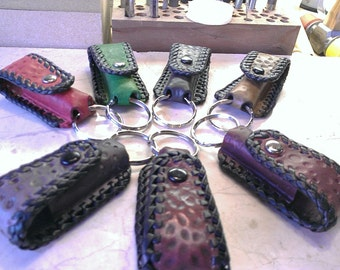 Keyring Case,  Leather Chapstick case with keyring