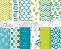 12 blue owls digital papers