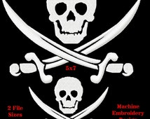 Pirate Skull and Sword Machine Embroidery Design - Machine Embroidery Designs on Etsy -Digitized by Hand 2 sizes for 4x4 or 5x7 hoops