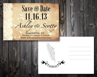 Feather Save The Date Postcards (100)