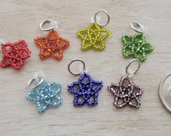 Set of 7 rainbow star stitch markers for knitting or crocheting