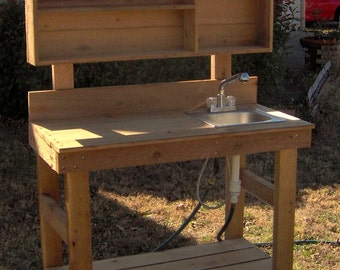 Brand New 6 Foot Ultimate Cedar Potting Bench with Sink - Free Shipping