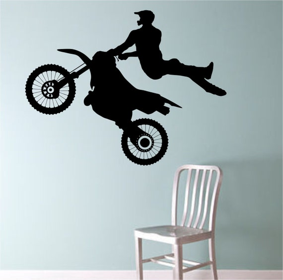 Items similar to dirt bike biker mid air trick vinyl wall for Dirt bike wall mural