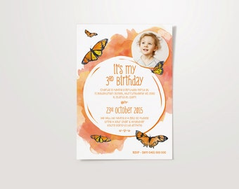 Butterfly Customised A5 Party Invite - Birthday, Engagement, Anniversary & Baptism.