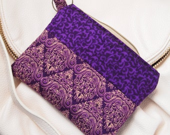 Cosmetic Zipper Pouch  Padded Ethnic Print