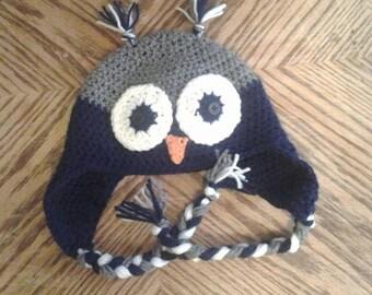Two-Toned Owl Ear Flap Hat