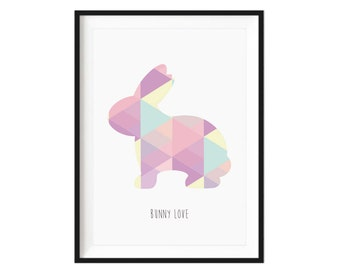 Geometric Bunny Love Print
